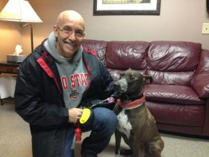 Richard Hussey's dog Bindi has no sign of cancer after undergoing a new pet radiation therapy. ________________________________________ Photo credit: ANN THOMPSON / WVXU