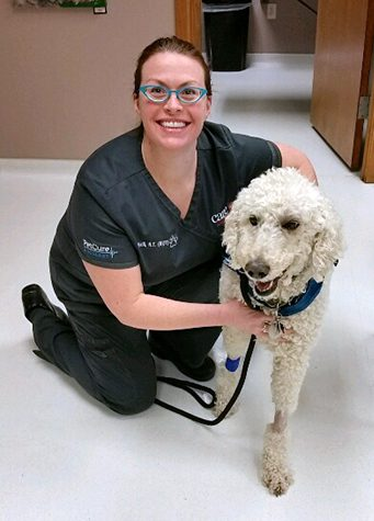 Radiation Therapist Kelli with Pet Hero Cass